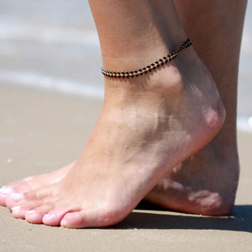 Black Anklet - Black Ankle Bracelet - Arrow Anklet - Foot Jewelry - Foot Bracelet - Chain Anklet - Summer Jewelry - Beach Jewel