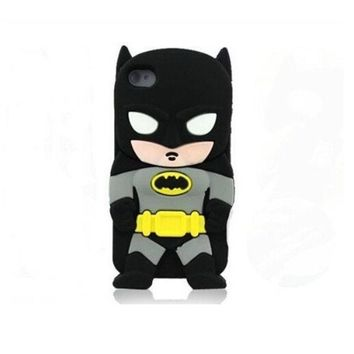 DCCKIX3 3D cute Superhero Cartoon Silicon Soft Cover Case for iPhone 4 4S 4G (Batman) = 1928041860
