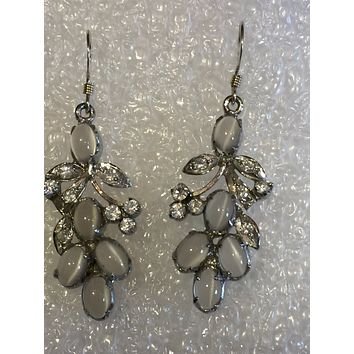 Vintage Genuine moonstone Gemstone Filigree Sterling Silver Chandelier earrings