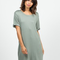 Cuffed Sleeves Boyfriend Tunic Tee