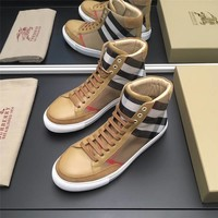 Burberry Men's Canvas Leather Fashion High Top Sneakers Shoes
