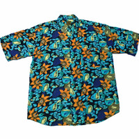 Vintage 90s Orange/Teal/Black Floral Print Rayon Button Up Shirt Mens Size Large (Slim Fit)