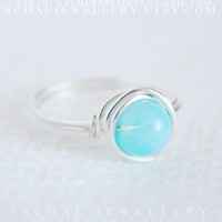 Sterling Silver Blue Opal Druk Ring