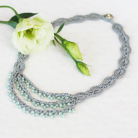 Sage green and gray necklace Wedding lace jewelry Bridesmaid necklace Crochet beaded necklace Boho Bohemian