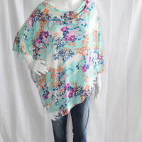 Floral Poncho/ Nursing, Breastfeeding Cover/ Lightweight Shawl/ Off the Shoulder Boho Top/ New Mom Gift/ Colorful Wrap
