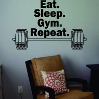 Eat Sleep Gym Repeat Quote Decal Sticker Wall Vinyl Art Words Decor Workout Weight Dumbbell Inspirational