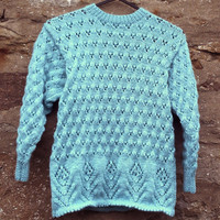 "Hand knitted girl's aqua / turquoise round neck tunic sweater. 26"" chest."