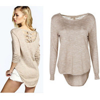 Casual Round-neck Knit Long Sleeve Lace Mosaic Butterfly Irregular Tops T-shirts [6048215425]