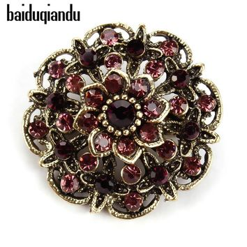 baiduqiandu Retro Crystal Antique Gold Flower Brooches for Women Romantic Wedding Bridesmaid Rhinestone Party Bouquet Brooch Pin