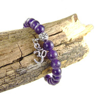 Amethyst OM Energy Bracelet for Peace by AnandaBijoux
