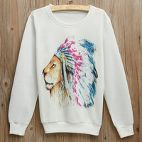 White Indian Lion Printed Sweatshirt