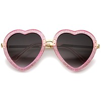 Women's Heart Shaped Transparent Glitter Sunglasses A635