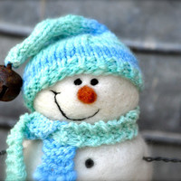 Snowman - Needle Felted Snowmen - Blue hat and scarf - 90