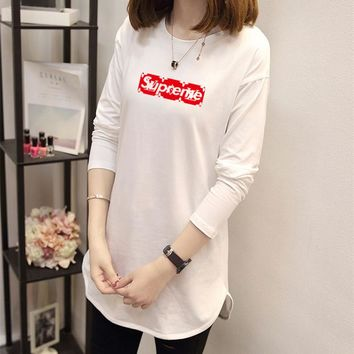 """Louis Vutitton x Supreme"" Women Casual Simple Letter Logo Print Long Sleeve T-shirt Irregular Tops"