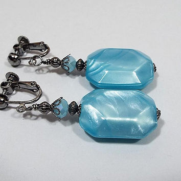 Mint Blue Drop Earrings, Pearly Octagon, Gunmetal Plated, Made with Vintage Lucite Beads, Spring Jewelry, Clip on Earrings Lever Back Hook