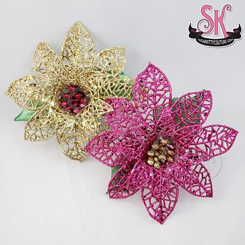 Glittery Christmas Poinsettia Hair Flower Fascinator Clip