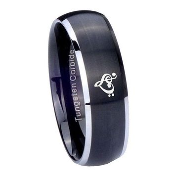 8mm Music & Heart Dome Brushed Black 2 Tone Tungsten Mens Engagement Band