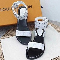 【Louis Vuitton】LV One word with flat bottom high boots Women Slippers Sandals B/A White