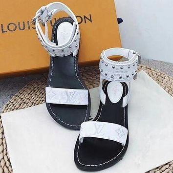 LV Louis Vuitton Popular Summer Women Casual Flat Bottom High Boots Sandal Slipper Shoes White I/A