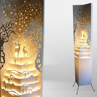 Floor lamp Standing lighting sculpture Magical forest Handcrafted