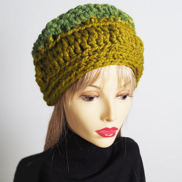 St Patricks Day, Handmade spring green & lemongrass hat, Ready to ship, Chunky knit green hat, Woman chic crochet cloche, OOAK teen girl hat