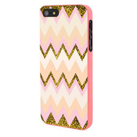 Gold Pink Chevron iPhone 5 Case Framed Pink