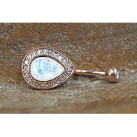 Opal Rose Gold Belly Button Rings Belly Rings Navel Ring