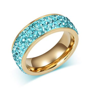 Fashion Sainless Steel Crystal Ring  Unique Design Luxurious Exquisite Finger Ring for Women's Wedding Gift 5 Colors