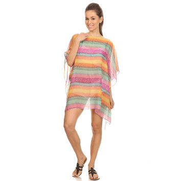 Womens Rainbow Summer Poncho Tunic Cover Up