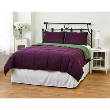Full/Queen Size 3 Piece Green Purple Microfiber Comforter Set With 2 Shams