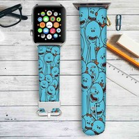 Rick and Morty Mr Meeseeks Custom Apple Watch Band Leather Strap Wrist Band Replacement 38mm 42mm
