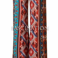 Diamond Pattern Palazzo Pants - Rust