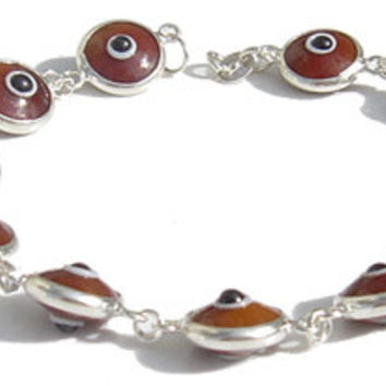 Evil Eye Brown Silver Bracelet