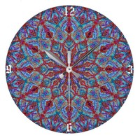 Boho-romantic colored mandala ornament arabesque large clock