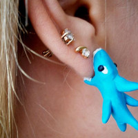 fake gauge plug earrings shark dogfish by JEWELLERYandPLEASURE