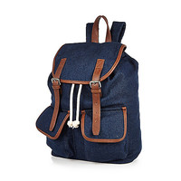 River Island MensNavy denim tan trim backpack