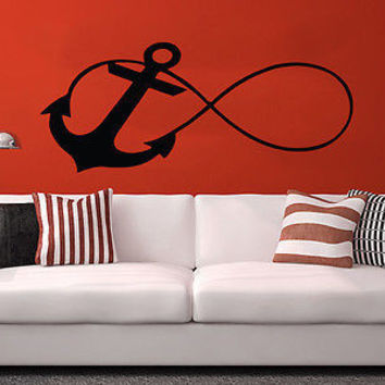 Infinity Sign Wall Decal Anchor Vinyl Sticker Decals Nautical Decor Nursery C88