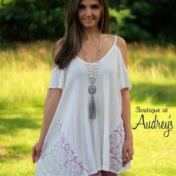 White Cold Shoulder Knit Top with Sheer Lace Panels - Boutique At Audrey's