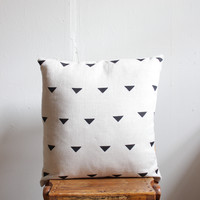 Triangle Block Printed 100% Linen Pillow