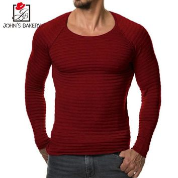 High-grade Limited 2017 New Autumn Winter Brand Clothing Men's Sweaters Solid Color Slim Fit Men Pullover Knitted Sweater 3x