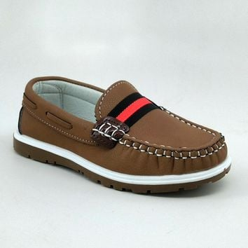 Boy's Camel Casual Shoes with Red Stripe Detail