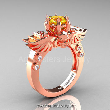 Art Masters Classic Winged Skull 14K Rose Gold 1.0 Ct Yellow Sapphire Diamond Solitaire Engagement Ring R613-14KRGDYS