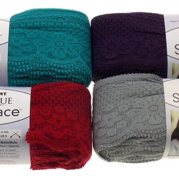 Lot 4 Skeins Ball Sassy Lace Red Heart Boutique Red Turquoise Purple Gray Nylon