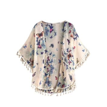 Butterfly Print Fringe Trim Top Beach Cover Up Kimono Womens Tops