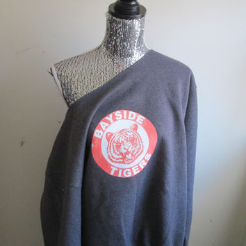 Bayside Tigers Kelly Kapowski Saved By The Bell Dark Grey Off The Shoulder Sweatshirt