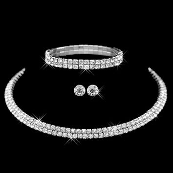 Hot Selling  Rhinestone Crystal Choker Necklace Earrings and Bracelet Wedding Jewelry Sets Wedding Accessories