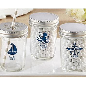 Personalized Printed Glass Mason Jar - Kate's Nautical Baby Shower Collection (Set of 12)