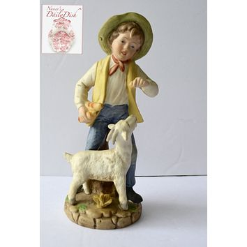 Copy of Vintage Peasant Boy w/ Bread Feeding Billy Goat Figurine French / English Country