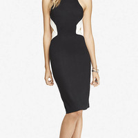 COLOR BLOCK OPEN BACK MIDI SHEATH DRESS from EXPRESS