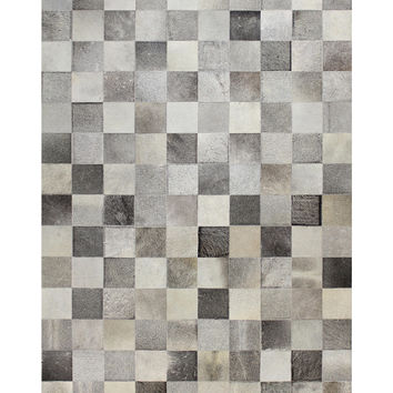 Bashian Rugs Square Patch Cowhide Hand-Stitched Rug - Grey